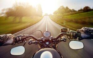 view from the drivers seat of a motorcycle - MOTORCYCLE LOANS